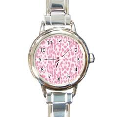 Leopard Pink Pattern Round Italian Charm Watch by Valentinaart