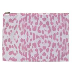 Leopard Pink Pattern Cosmetic Bag (xxl)  by Valentinaart