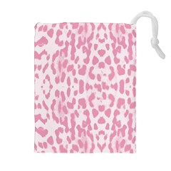 Leopard Pink Pattern Drawstring Pouches (extra Large) by Valentinaart