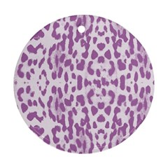 Purple Leopard Pattern Ornament (round) by Valentinaart