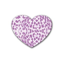 Purple Leopard Pattern Rubber Coaster (heart)  by Valentinaart