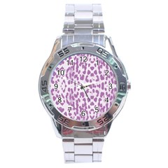 Purple Leopard Pattern Stainless Steel Analogue Watch by Valentinaart