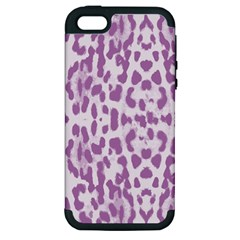 Purple Leopard Pattern Apple Iphone 5 Hardshell Case (pc+silicone) by Valentinaart