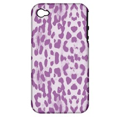 Purple Leopard Pattern Apple Iphone 4/4s Hardshell Case (pc+silicone)