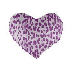 Purple Leopard Pattern Standard 16  Premium Heart Shape Cushions by Valentinaart