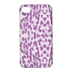 Purple Leopard Pattern Apple Iphone 4/4s Hardshell Case With Stand by Valentinaart