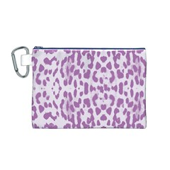 Purple Leopard Pattern Canvas Cosmetic Bag (m) by Valentinaart