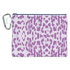 Purple Leopard Pattern Canvas Cosmetic Bag (xxl) by Valentinaart