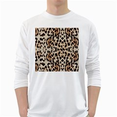 Leopard Pattern White Long Sleeve T Shirts by Valentinaart