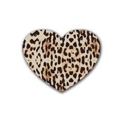 Leopard Pattern Rubber Coaster (heart)  by Valentinaart