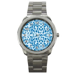 Blue Leopard Pattern Sport Metal Watch by Valentinaart