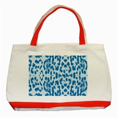 Blue Leopard Pattern Classic Tote Bag (red) by Valentinaart