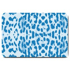 Blue Leopard Pattern Large Doormat  by Valentinaart