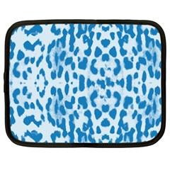 Blue Leopard Pattern Netbook Case (xxl)  by Valentinaart
