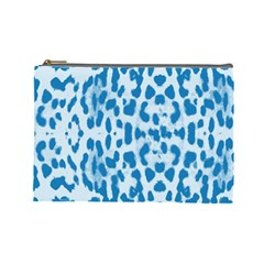 Blue Leopard Pattern Cosmetic Bag (large)  by Valentinaart