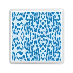 Blue Leopard Pattern Memory Card Reader (square)  by Valentinaart