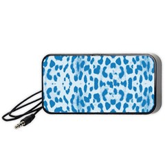 Blue Leopard Pattern Portable Speaker (black) by Valentinaart