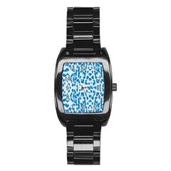Blue Leopard Pattern Stainless Steel Barrel Watch by Valentinaart