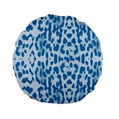 Blue Leopard Pattern Standard 15  Premium Flano Round Cushions by Valentinaart