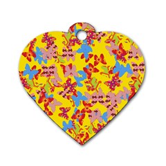 Butterflies  Dog Tag Heart (one Side) by Valentinaart