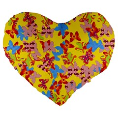 Butterflies  Large 19  Premium Heart Shape Cushions by Valentinaart
