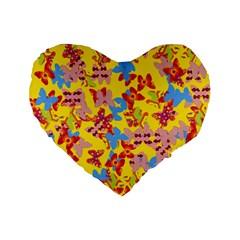 Butterflies  Standard 16  Premium Flano Heart Shape Cushions by Valentinaart