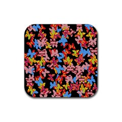 Butterflies Rubber Square Coaster (4 Pack)  by Valentinaart