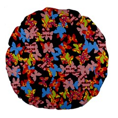 Butterflies Large 18  Premium Flano Round Cushions by Valentinaart