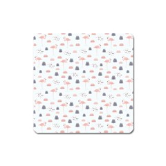 Cute Flamingos And  Leaves Pattern Square Magnet by TastefulDesigns