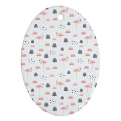Cute Flamingos And  Leaves Pattern Oval Ornament (two Sides) by TastefulDesigns