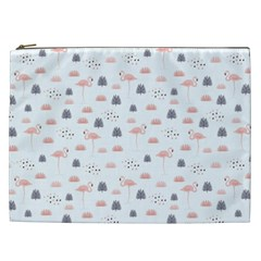 Cute Flamingos And  Leaves Pattern Cosmetic Bag (xxl)  by TastefulDesigns