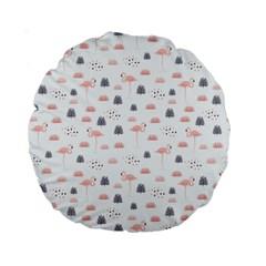 Cute Flamingos And  Leaves Pattern Standard 15  Premium Round Cushions by TastefulDesigns