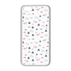 Cute Flamingos And  Leaves Pattern Apple Iphone 5c Seamless Case (white) by TastefulDesigns