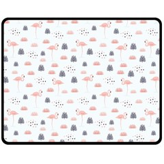 Cute Flamingos And  Leaves Pattern Double Sided Fleece Blanket (medium)  by TastefulDesigns