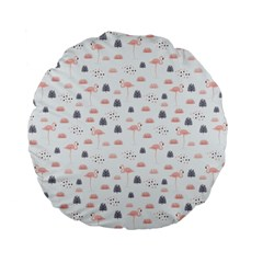 Cute Flamingos And  Leaves Pattern Standard 15  Premium Flano Round Cushions by TastefulDesigns