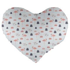 Cute Flamingos And  Leaves Pattern Large 19  Premium Flano Heart Shape Cushions by TastefulDesigns
