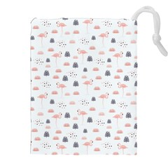 Cute Flamingos And  Leaves Pattern Drawstring Pouches (xxl) by TastefulDesigns