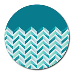 Zigzag Pattern In Blue Tones Round Mousepads by TastefulDesigns