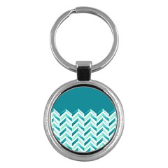 Zigzag Pattern In Blue Tones Key Chains (round)  by TastefulDesigns