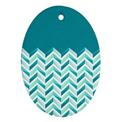 Zigzag Pattern In Blue Tones Oval Ornament (two Sides) by TastefulDesigns