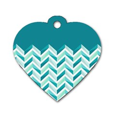 Zigzag Pattern In Blue Tones Dog Tag Heart (two Sides) by TastefulDesigns