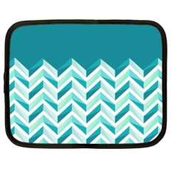 Zigzag Pattern In Blue Tones Netbook Case (xxl)  by TastefulDesigns