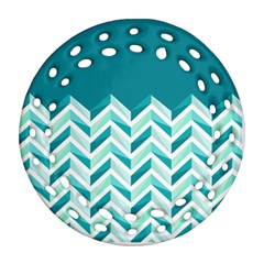 Zigzag Pattern In Blue Tones Round Filigree Ornament (two Sides) by TastefulDesigns