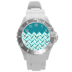 Zigzag Pattern In Blue Tones Round Plastic Sport Watch (l) by TastefulDesigns