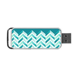 Zigzag Pattern In Blue Tones Portable Usb Flash (two Sides) by TastefulDesigns