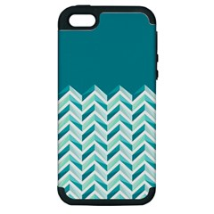 Zigzag Pattern In Blue Tones Apple Iphone 5 Hardshell Case (pc+silicone) by TastefulDesigns