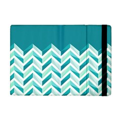 Zigzag Pattern In Blue Tones Apple Ipad Mini Flip Case by TastefulDesigns