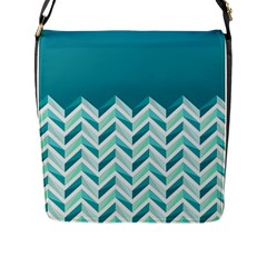 Zigzag Pattern In Blue Tones Flap Messenger Bag (l)  by TastefulDesigns