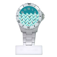 Zigzag Pattern In Blue Tones Plastic Nurses Watch by TastefulDesigns