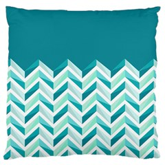 Zigzag Pattern In Blue Tones Large Flano Cushion Case (one Side) by TastefulDesigns